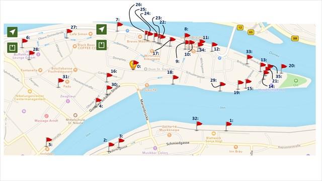 Karte Hochwassermarken