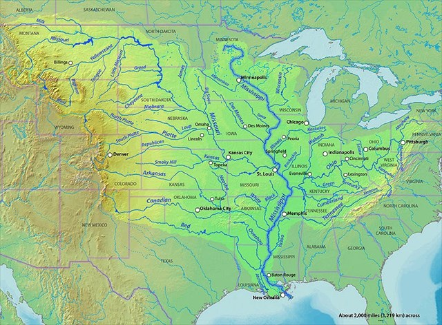 Us Map Of Mississippi River Globalinterco - Map of us river systems