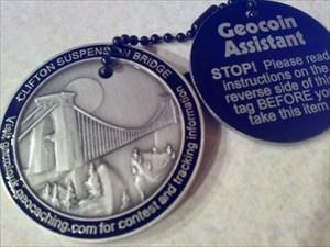 Cora & Megans- Clifton Suspension Bridge Geocoin