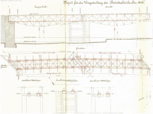 dokumentace k oprave mostu v roce 1900