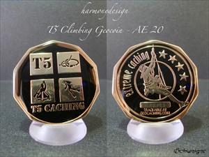 T5 Climbing Geocoin - Gold - AE 20