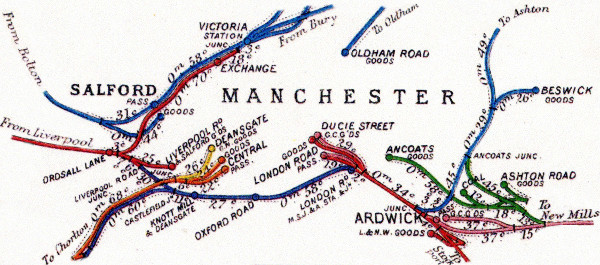 A map of the railways of Manchester in 1923