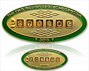 2 Million Geocache Geocoin Satin Gold