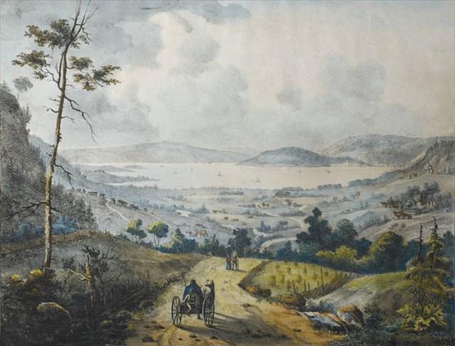 Udsikt fra Paradisbakkerne, tegnet av dekorasjonsmaler P. F. Wergman i 1835.
