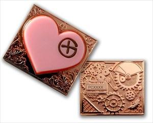 Steampunk Heart Geocoin (Pink & Copper)
