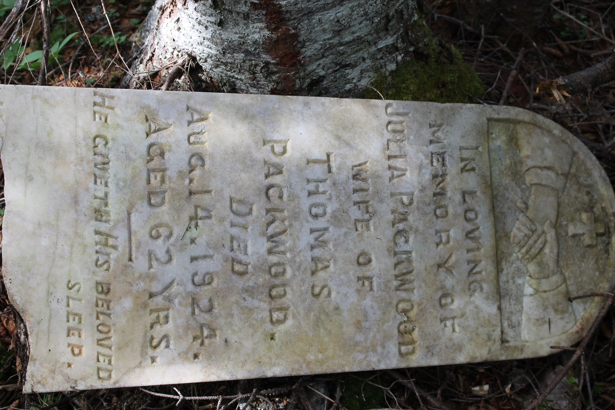 An example of a fallen headstone