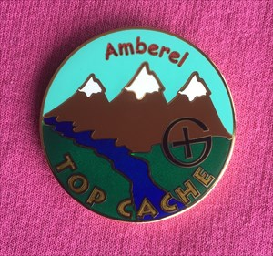 Amberel TOP CACHE Geocoin - Front