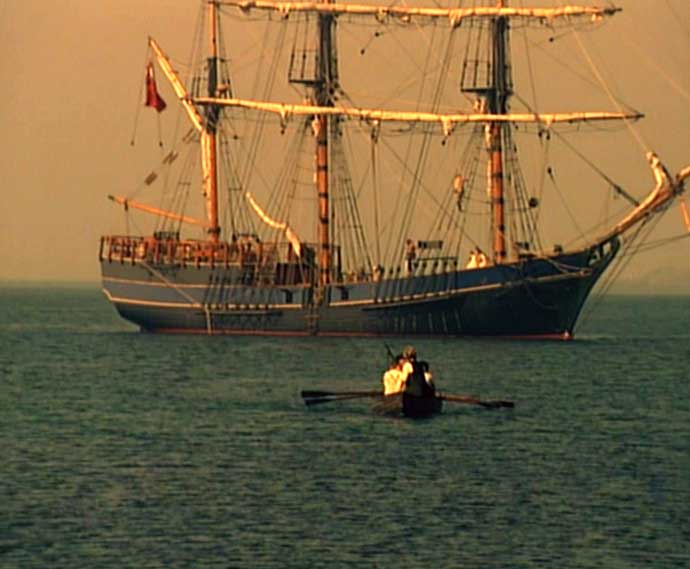 Film still: escape from the Hispaniola