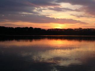 Zapad slunce nad rybniky