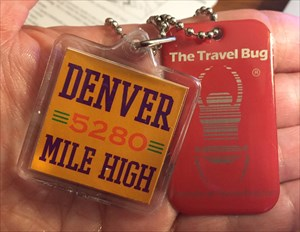 Denver 5280 Mile High key chain with dog tag