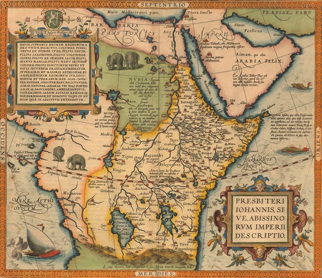 The Prester John map by Abraham Ortelius, 1527-1598.