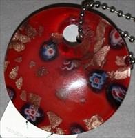 BeadLargeRed Glass Circle TB