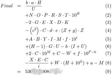 Formel zur Berechnung der Final-Koordinaten
