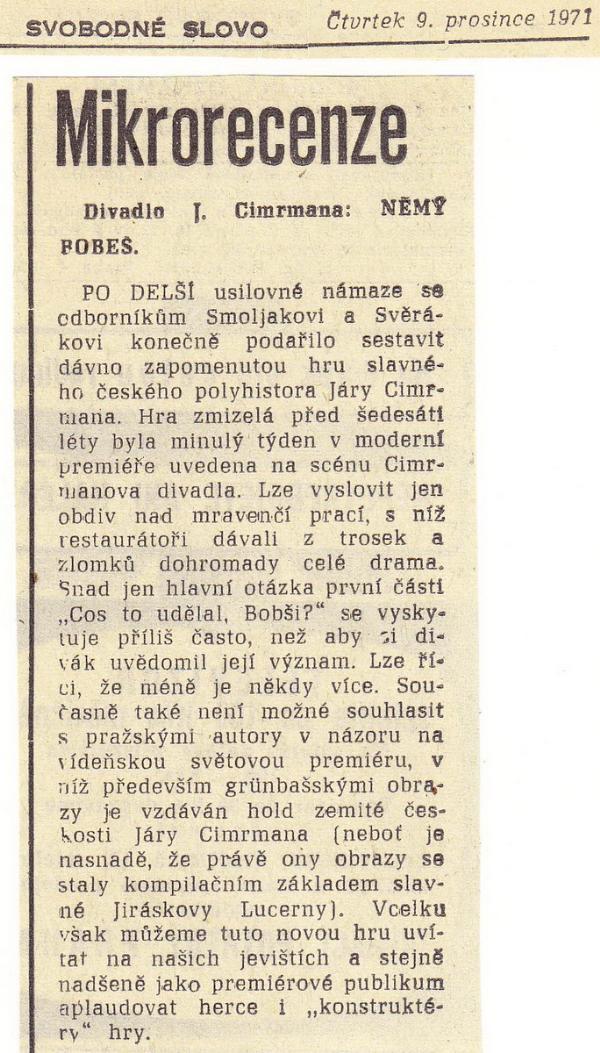 Svobodné slovo výstrižek 9.12.1971