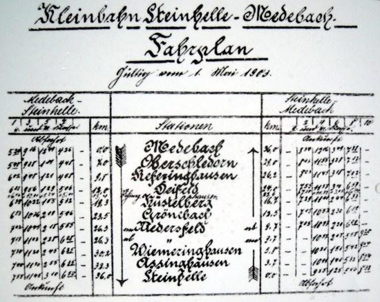 Fahrplan der Kleinbahn von 1903