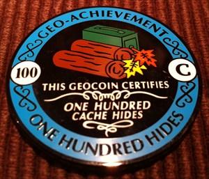 HuberSports hides 100 Geocaches Geocoin