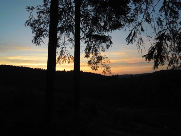 Blick vom Stollen bei Sonnenuntergang