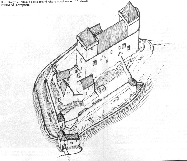 Kresba Radyne z jihozapadu / A drawing of Radyne castle form the southwest