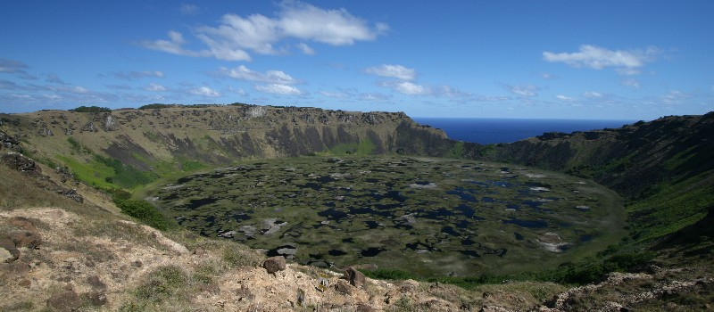 Rano Kau crater on Rapa Nui.