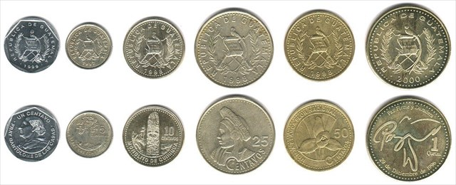 ½ And 1 Quetzal Coins Were Reintroduced In 1998 1999 Respectively Curly Circulation Are Centavo 5 Centavos 10 25