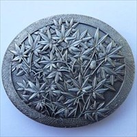 Netsuke - Maple Leaf Geocoin - Antique silver