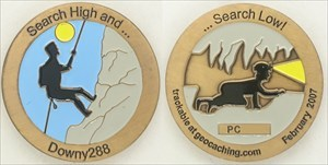 Search High and Low Geocoin Antique Gold