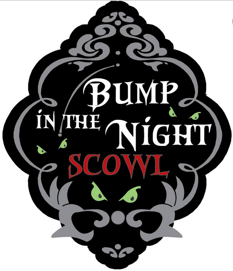 BUMP in the NIGHT Scowl black background logo with green evil eyes looking out