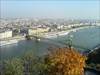 """View-2 Danube-view to South. The green object is the """"Szabadsag hid"""" (Freedom Bridge)."""