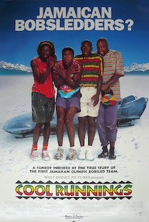 "movie poster: top ""Jamaican Bobsledders?"" (pic of 4 Jamaicans shivering, in front of bobsled and snowy scene); at bottom, movie description and title"