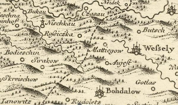 Cechy, Morava – Podesin, Sirakov, Ujezd, Nove Veseli 1720.
