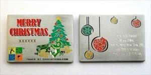 Christmas Card Geocoin Gold