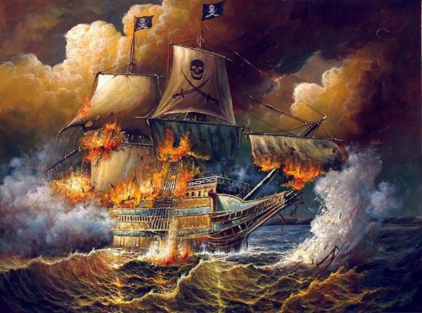 navire en flammes