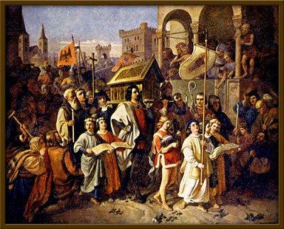 Břetislav I. nesoucí ostatky sv. Vojtěcha