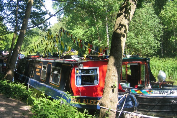 Canal boats on the Basingstoke Canal