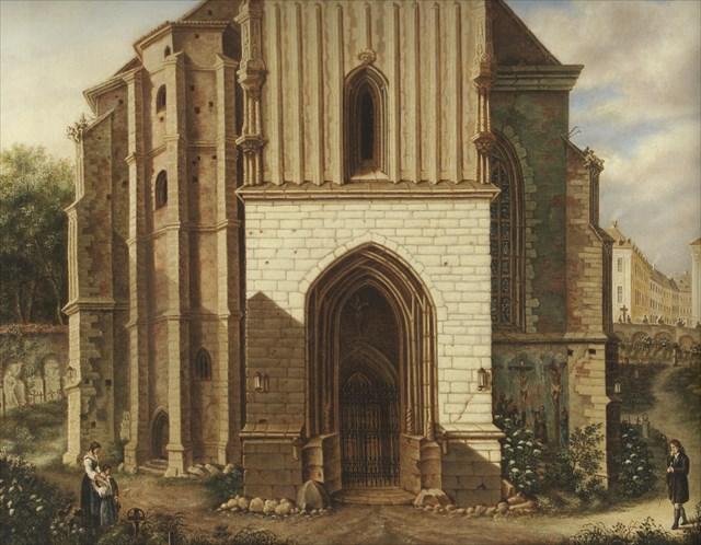 Hrbitov u kostela v roce 1784