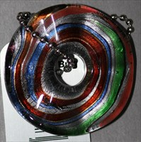 Bead-Multicolored Wavy Glass Donut TB