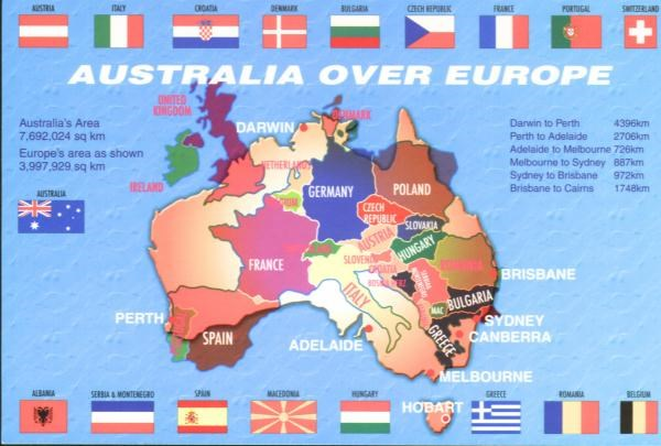 Australia S Size Compared To European Countries
