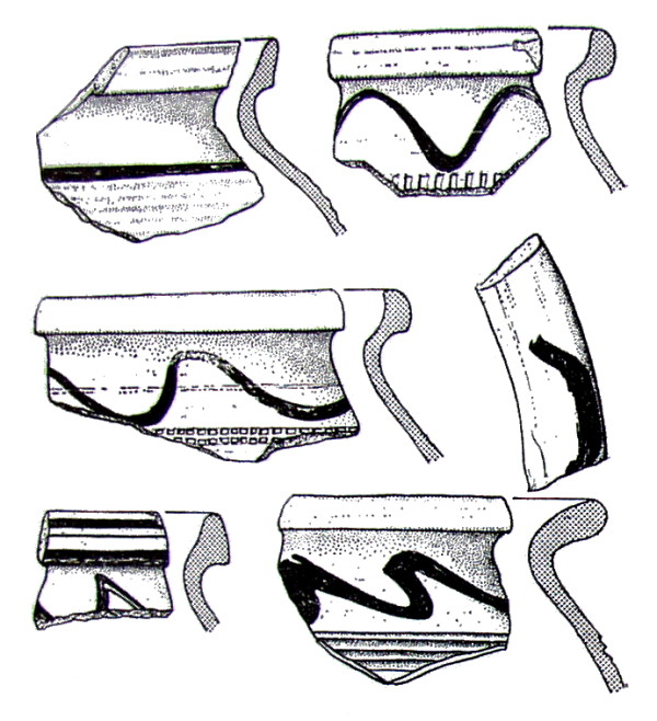 Fragments of yellowish, red painted pottery of North-Bohemian origin from 15th century.