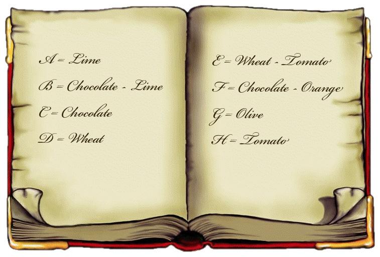 A=Lime,B=Chocolate-Lime,C=Chocolate,D=Wheat,E=Wheat – Tomato,F=Chocolate-Orange,G=Olive,H=Tomato
