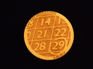 Harb's Wooden Nickle Geocoin