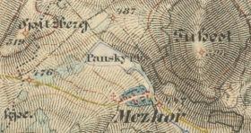 Panský rybník na mapě III. vojenského mapování