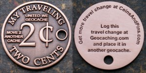 My Traveling 2 Cents Geocoin