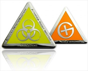 Highly Infective Geocoin silver-yellow-orange