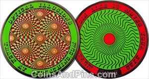 Optical Illusion Geocoin - Red Green