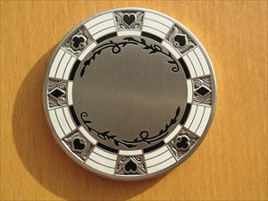 Poker Chip Geocoin - Silver (Vorderseite)