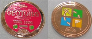 Geotoids Cache Sours Geocoin red gold