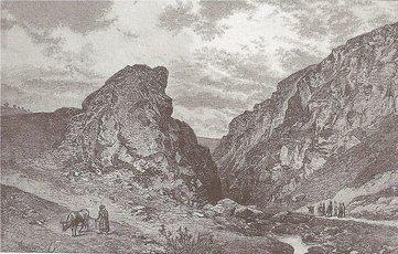 Historický obrázek - souteska Džbán od V (Šubrt - Borovský et al. 1887)