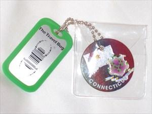 TB4JW2G) Travel Bug Dog Tag - Connecticut Pog