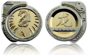Dragon Geocoin Poliertes Gold  Silber
