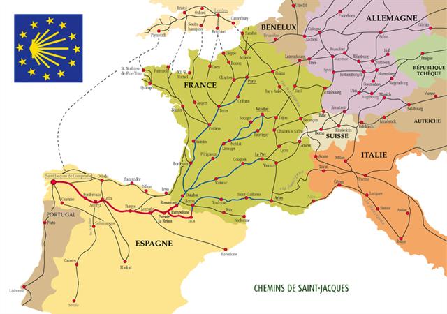 Carte des routes de St Jacques de Compostelle